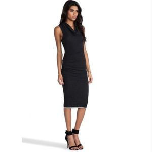 James Perse Black Cowl Neck Tuck Dress